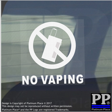 1 x No Vaping Window Stickers-With Text for Car,Taxi,Minicab,Van Warning Signs